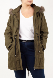 Ladies Plus Size Fashion Parka Jacket